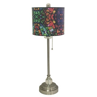"Royal Designs 28"" Crystal and Brushed Nickel Buffet Lamp with Mosaic Stained Glass Design Hardback Lamp Shade"