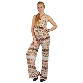 Womens High Waist Sleeveless Floral Pattern Jumpsuits Rompers Brown