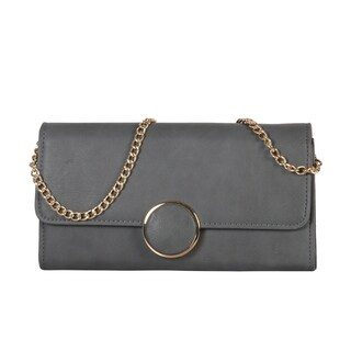Diophy Front Circle Decoration Clutch with Detachable Chain Strap - S