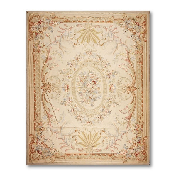 Traditional Classic Asmara Needlepoint Aubusson Rug - 10'x13'7""