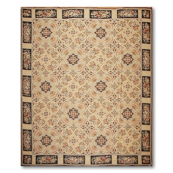"Traditional Asmara Needlepoint Aubusson Area Rug (10'2""x11'1"")"