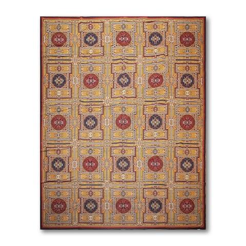 Ornamental Asmara Needlepoint Aubusson Flat Weave Area Rug - Gold/Burgundy - 8' x 11' - 8' x 11'