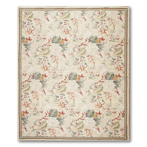 Shabby Chic Asmara Needlepoint Aubusson Area Rug - multi