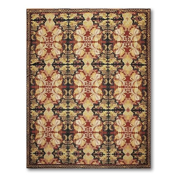 Pure Wool Asmara Needlepoint Aubusson Flat Weave Area Rug - 8' x 11'