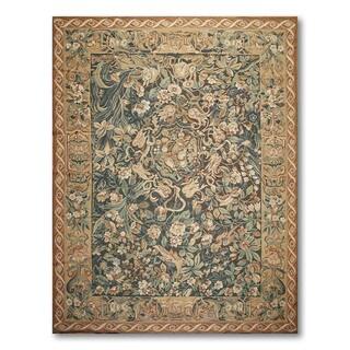 Ornamental Classic Asmara Handmade Needlepoint Aubusson Wool Area Rug (9' x 12')