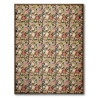Hand Woven Floral Asmara Needlepoint Aubusson Area Rug - 9'x12'