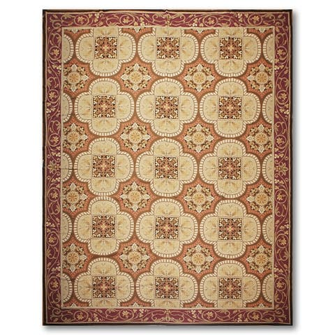 French Country Asmara Needlepoint Aubusson Area Rug - 10' x 14'
