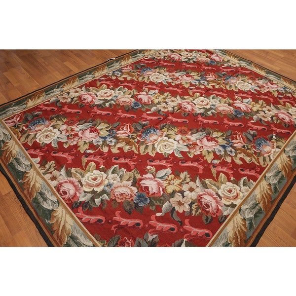 Floral Ornamental Asmara Needlepoint Aubusson Area Rug - multi