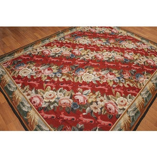 "Floral Ornamental Asmara Needlepoint Aubusson Area Rug (7'4""x9'9"")"