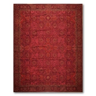 Deep Red Asmara Needlepoint Aubusson Area Rug (8'x10')