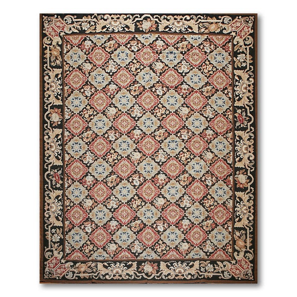 Asmara Ornamental Needlepoint Aubusson Flat Weave Area Rug - multi
