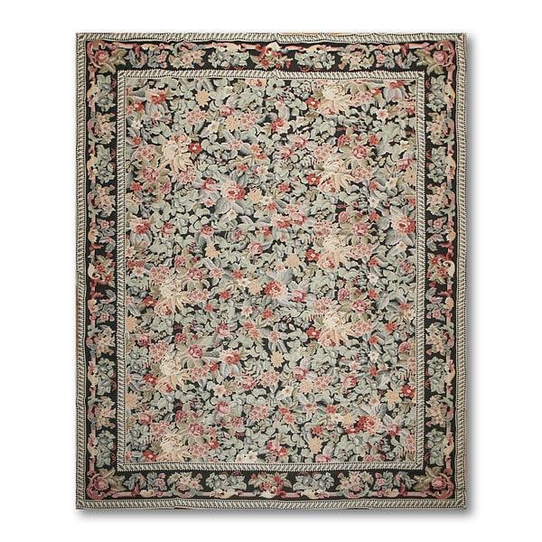 "Asmara Floral Country Needlepoint Aubusson Rug - 8'4""x11'6"""