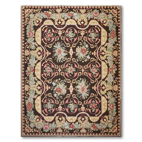 Asmara Fine Needlepoint Aubusson Flat Weave Area Rug - Black/Rust - 9' x 12'