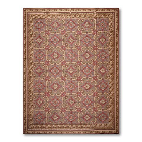 COSTIKYAN Classic Design Needlepoint Aubusson Area Rug - Rust/Turquoise - 9' x 12'