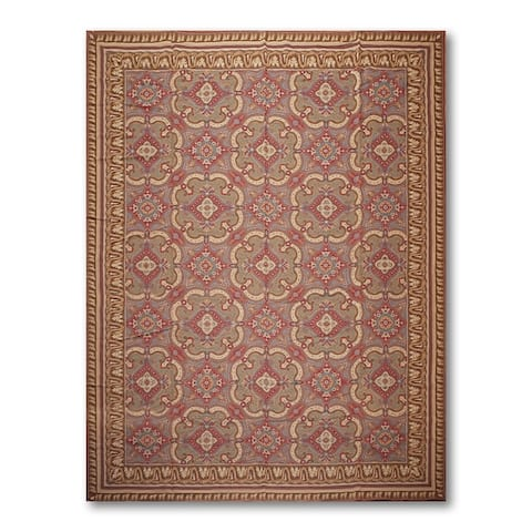 COSTIKYAN Classic Design Needlepoint Aubusson Area Rug - Rust/Turquoise - 9' x 12' - 9' x 12'