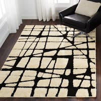 Abstract Mid-century Modern Ivory/ Black Shag Rug - 9' x 12'