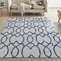 Ottomanson Hand-Tufted Collection Damask Trellis Design Wool Rug (5' X 7') - 5' x 7'