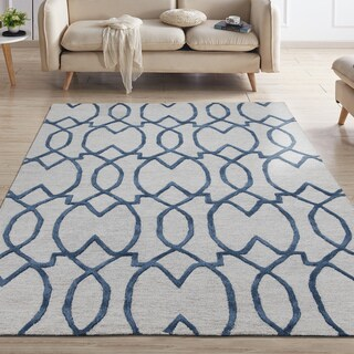 Ottomanson Hand-Tufted Collection Damask Trellis Design Wool Rug (5' X 7')