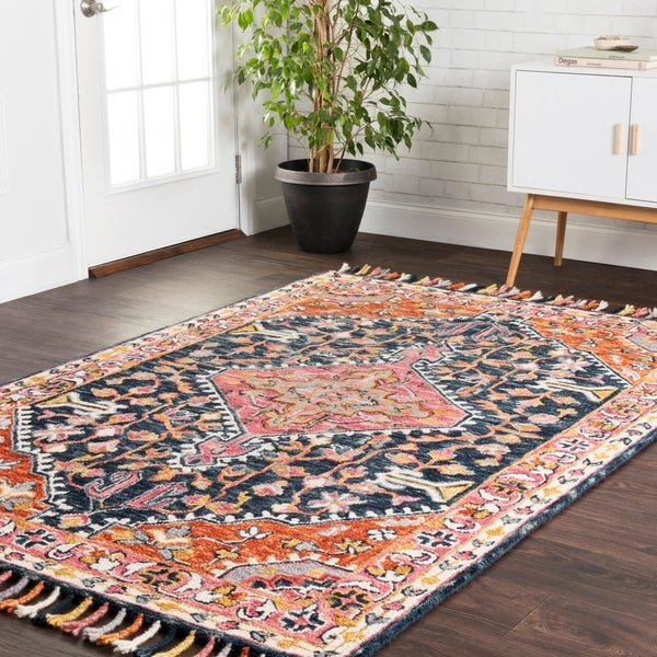 """Hand-hooked Navy/ Rust Medallion Wool Area Rug with Fringe - 9'3"""" x 13'"""