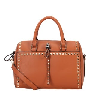 Diophy Square Stud Decoration Speedy Bag with Top Handle - L