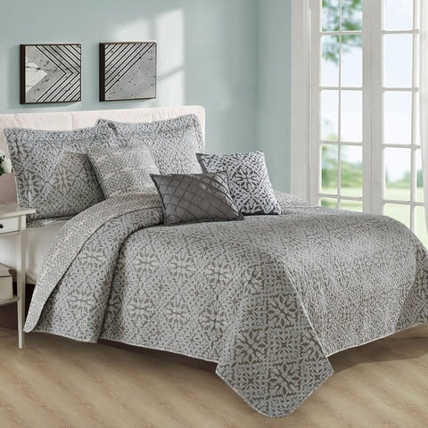Serenta 6 Piece Bellamy Printed Microfiber Quilts Coverlet Set