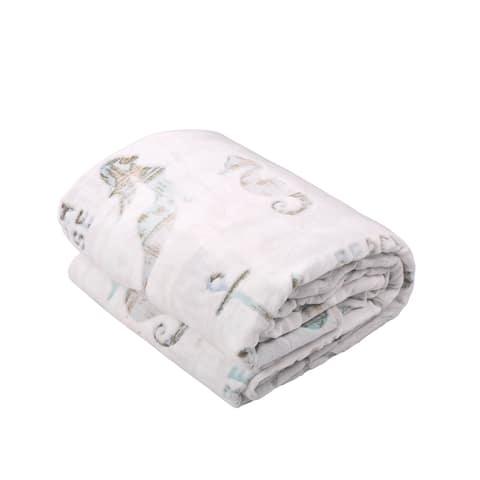 BOON Beach House Flannel Velvet Bed Couch Throw Blanket