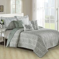 Serenta 6 Piece Mayfair Printed Microfiber Quilts Coverlet Set