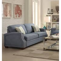 NeSmith Light Blue Fabric/Wood Sofa With Two Pillows
