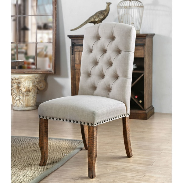 shop furniture of america matheson rustic tufted dining chairs set