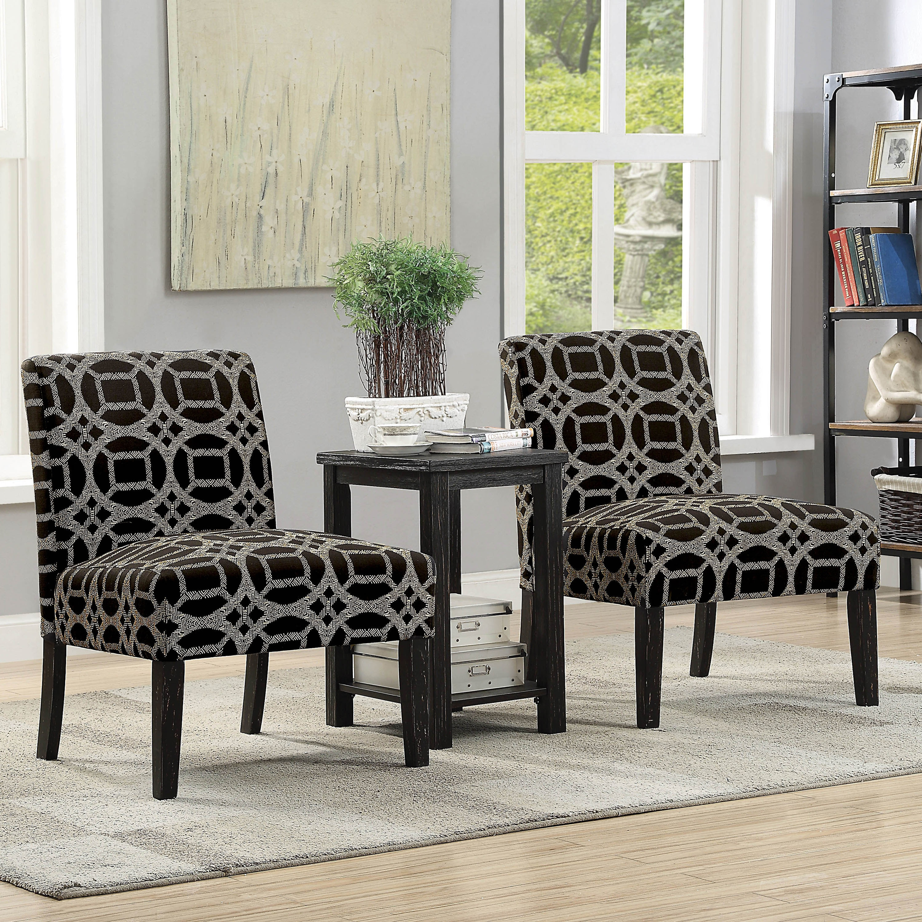 Furniture Of America Loo Modern Black 3 Piece Table And 2 Chairs Set