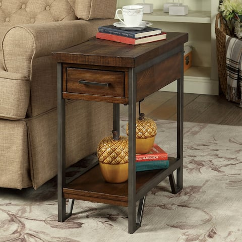 Furniture of America Quif Rustic Oak Wood Narrow USB Charging Table