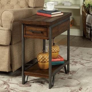 Furniture of America Quif Rustic Oak Wood Narrow Usb Charging Table