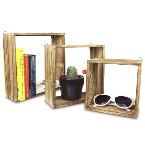Ikee Design Wooden Square Wall Mounted Floating Display Shelves, Set of 3