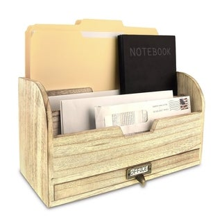 Ikee Design Wooden Desktop Organizer for Stacking Letters, Files, Documents, and Books, with a Metal Label Holder