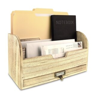 Ikee Design Wooden Desktop Organizer For Stacking File, Documents, Books and Letters With A Metal Label Holder