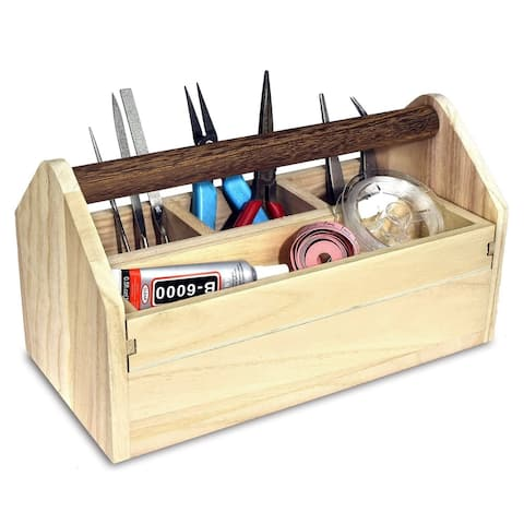 Natural Wood Color Wooden Craft Tool Box With Handle