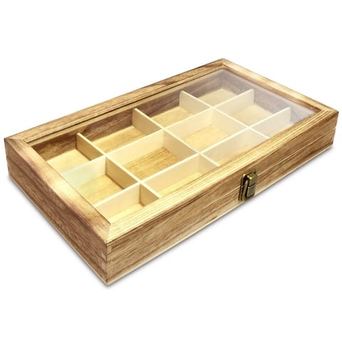 12 Slots Multifunctional Glass Top Wooden Craft Supplies Organizer Jewelry Storage Case with Metal Clasp
