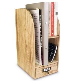 Ikee Design Oak Color Adjustable Wooden Desk Organizer For Desktop Accessories & Office Supplies