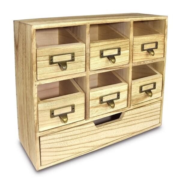 Ikee Design Natural Wood Color Wood Desktop Organizer Drawer Set with Metal Label Holder