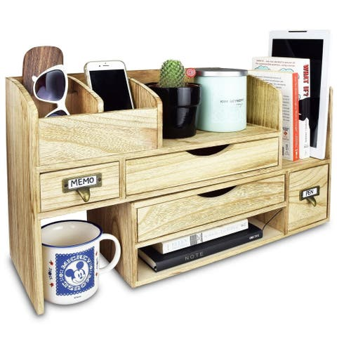 Adjustable Wooden Desktop Organizer Office Supplies Storage Shelf Rack