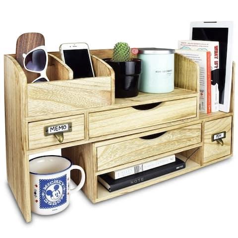 Adjustable Wooden Desktop Organizer Office Supplies Storage Shelf Rack