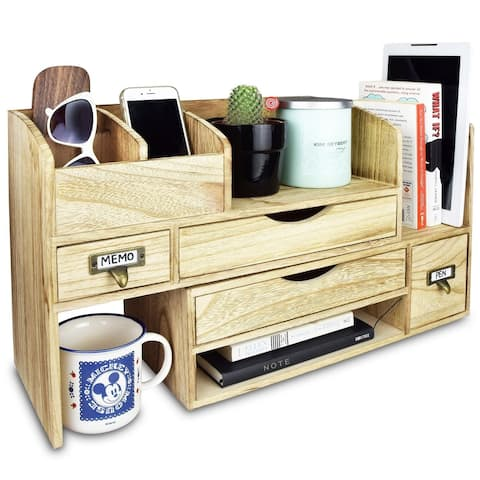Ikee Design Adjustable Wooden Desktop Organizer Office Supplies Storage Shelf Rack