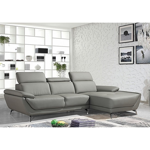 Shop Lincoln Modern Grey Leather L-shaped Sofa with ...