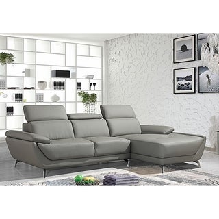 Lincoln Modern Grey Leather L-shaped Sofa with Adjustable Headrests