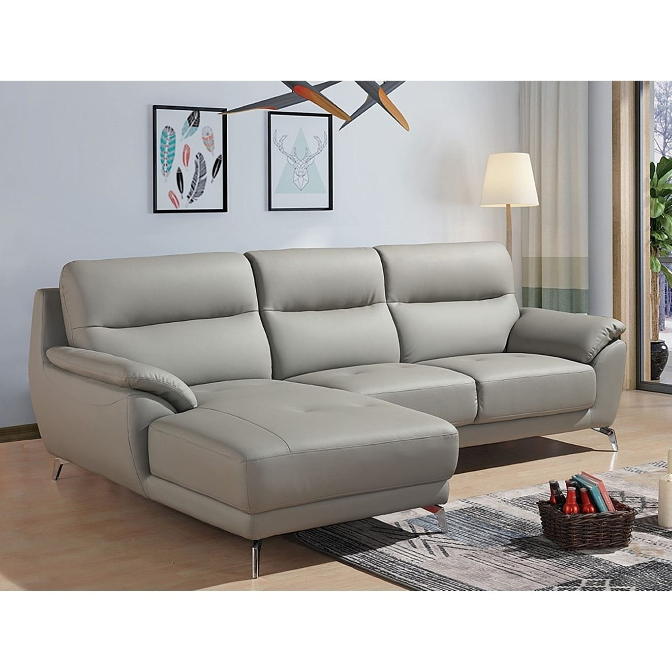 Cadmen Modern Grey Leather L-shaped Sofa with Left Facing Chaise