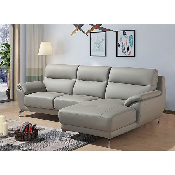Cadmen Modern Grey Leather L Shaped Sofa With Right Facing Chaise