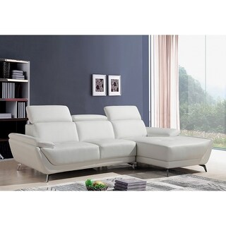 Lincoln Modern White Leather L-shaped Sofa with Adjustable Headrests