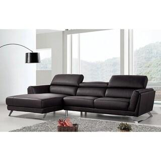 Waldorf Modern Black Leather L Shaped Sofa With Adjustable Headrests