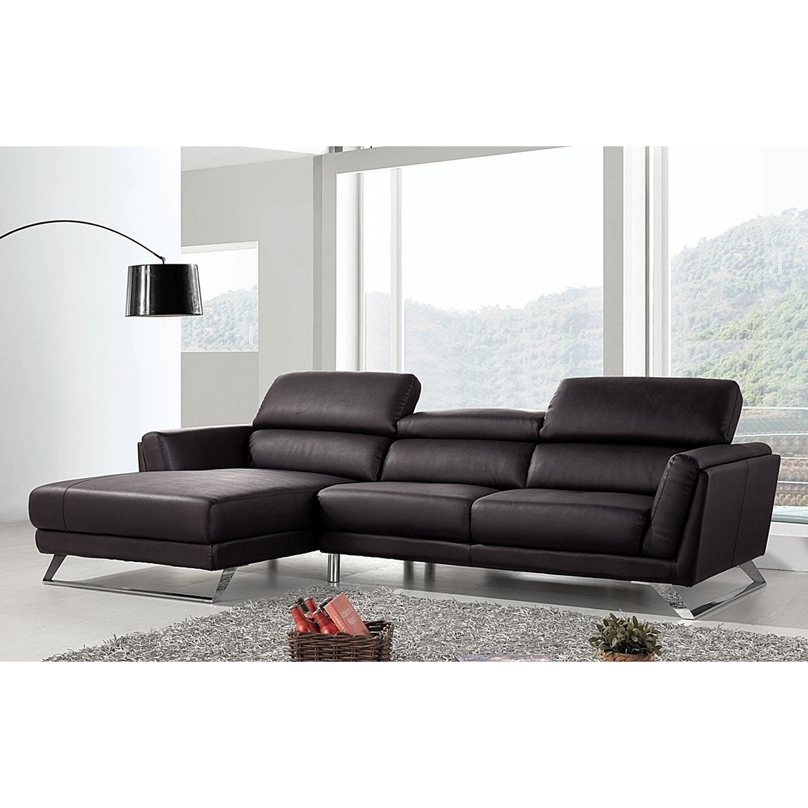 Waldorf Modern Black Leather L-shaped Sofa with Adjustable Headrests