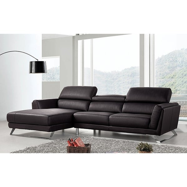 Shop Waldorf Modern Black Leather L-shaped Sofa with Adjustable ...